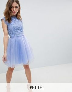 Chi Chi London Petite Cap Sleeve Lace 2 in 1 Midi Dress with Tulle Skirt