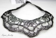 Stunning Black Lace Crocheted Statement Necklace by ZegnaJewelry, $85.00. Wire crochet
