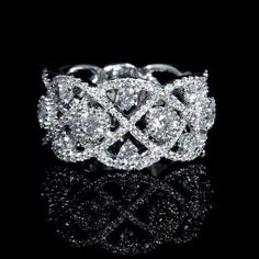 NEW: Diamond wedding ring featuring 123 round brilliant white diamonds 1.31ctw.    Firenze Jewels Style #2341