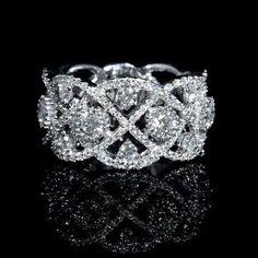 NEW: Diamond wedding ring featuring 123 round brilliant white diamonds 1.31ctw. Firenze Jewels Style #2341