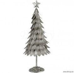J-Line Kerstboom met antiek zilveren blaadjes metaal 60h