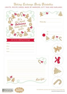 {free printable} Christmas Baking Exchange Party set with invitation, recipe card, gift tags & garland / Botanical PaperWorks