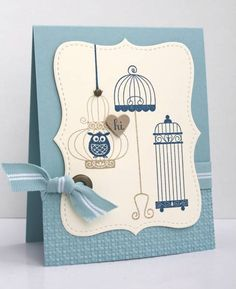 Aviary stampset and top note die- love this set of bird cages
