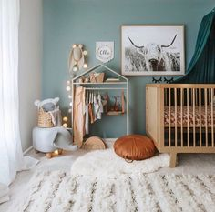 Pops of blue and lots of texture make for a pretty sweet baby boy nursery 💙 Ollie's beautiful room styled by mum featuring our hairy friend the Highland Bovine 🐮 Cow Nursery, Nursery Decor, Room Decor, Green Nursery Girl, Western Nursery, Baby Bedroom, Kids Bedroom, Ideas Prácticas, Baby Room Design