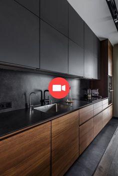 Superb black kitchen design concepts 42 Supply through chocolateandtea New Kitchen Interior, Kitchen Showroom, Kitchen Room Design, Studio Kitchen, Best Kitchen Designs, Bathroom Design Small, Kitchen Sets, Kitchen Decor, Small Modern Kitchens