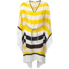 Fendi Waves kaftan dress (17.065 ARS) ❤ liked on Polyvore featuring dresses, tie belt, knee length dresses, caftan dress, long sleeve print dress and pattern dress