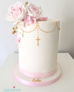 Christening Cake with Sugar Flowers Baby Girl Christening Cake, Girl Baptism Party, Christening Party, Baptism Cakes For Girls, Baby Dedication Cake, First Holy Communion Cake, Religious Cakes, Confirmation Cakes, Girl Cakes