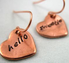 LOVE these earrings!! this shop has such cute stuff -- all hand stamped with quotes from Doctor Who, Harry Potter, Shakespeare, Disney, etc. and customizable, via Etsy.