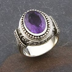 @Overstock - Click here for Ring Sizing Chart. Sterling silver jewelryPretty amethyst ringhttp://www.overstock.com/Worldstock-Fair-Trade/Handmade-Sterling-Silver-Amethyst-Cawi-Ring-Indonesia/3964245/product.html?CID=214117 $60.49