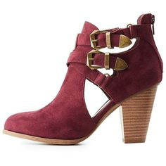Charlotte Russe Buckled Cut-Out Ankle Booties ($30) ❤ liked on Polyvore featuring shoes, boots, ankle booties, burgundy, chunky-heel ankle boots, ankle high boots, buckle booties, burgundy boots and short boots