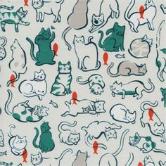 Sarah Watts for Cotton and Steel, Cat Lady, Schmitties Teal