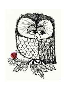 Retro Black and White Owl with Ladybug Print bij AllPosters.nl