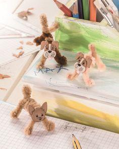 """Hunde mit Pfeifenputzern (Idee mit Anleitung – Klick auf """"Besuchen""""!) basteln! Das finden Kinder bestimmt tierisch!"""
