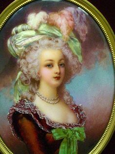 A painting of Marie Antoinette done on enamel, signed by T. Leroy.