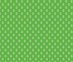Kelly Green Anchors fabric by jenniferstuartdesign on Spoonflower - custom fabric