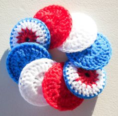 Crochet Dish Scrubbies  Set of 8  The Patriot by ArtistBeeBee, $16.00