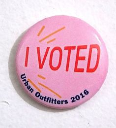 """Urban Outfitters 2016 Pink """"I Voted"""" Pin Button"""