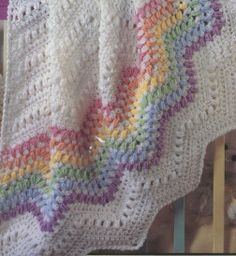 Multicolored Rippled Baby Blanket Crochet Pattern. $5.00, via Etsy.