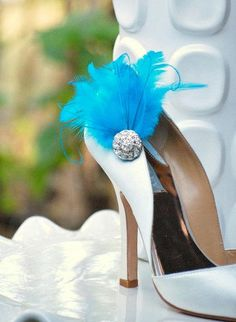 Shoe Clips Something Blue / Ivory / White / Black / by sofisticata, Custom made colors. Wedding Heel Accessory. http://sofisticata.etsy.com