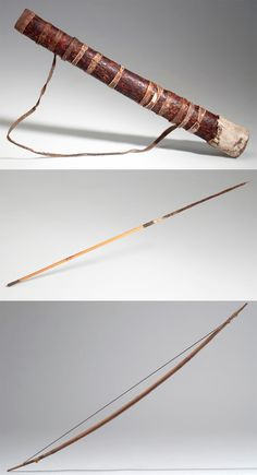 Botswana | Quiver, bow and arrow from the Kung Bushman from Western Ngamiland/Dobe | Wood, hide, leather, fur, metal, sinew | ca. 1971
