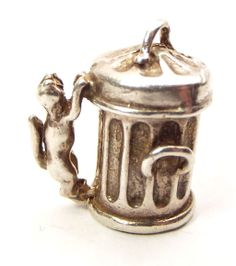 Vintage Silver Charm CAT On Side Of DUSTBIN Opens FISH Skeleton...