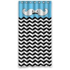 """Chevron Mustache Fabric Shower Curtain (36"""" x 72"""" ) with 7 holes"""