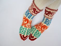 Hand-knit colourful thick wool socks with lovely couple of birds and hearts