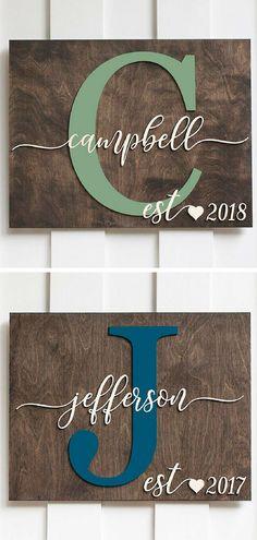 Family Name Sign   Initial   Letter   #woodletter #namesign #initial #monogram #monogramsign