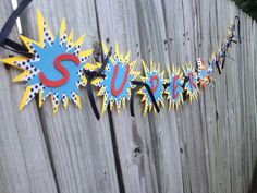 Personalized Super hero birthday banner 3d by MonkeyToesHairBows