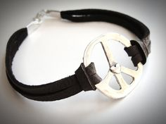 Love this!...Sterling Peace & Heart bracelet on leather by JewelryByMaeBee on Etsy. $30.
