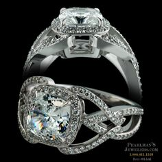 Bridget Durnell platinum diamond halo engagement ring from Pearlman's Jewelers. Featuring a diamond studded shank and a 2 carat cushion shaped diamond.