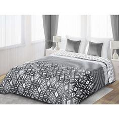 Bielo sivé obojstranné prikrývky na posteľ s bielými útvarmi