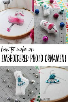 DIY Embroidered photo ornament tutorial see how to turn family photos into hand embroidery ornaments with fun sequin accents! Easy personalized ornament idea for gifting and decorating. // Swood Son Says -- Modern Christmas Ornaments, Christmas Crafts For Adults, Crafts For Teens To Make, Holiday Crafts, Diy And Crafts, Diy Christmas, Felt Crafts, Xmas, Fabric Ornaments