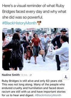 I recently realised Ruby Bridges is only a year or so older than my dad. It had never occurred to me how recent this actually was! Always frustrated me that people say 'get over it' about race, sexism, abilism, LGBTQ issues but this is in living memory! Def Not, Black History Facts, Faith In Humanity Restored, Intersectional Feminism, Anti Racism, Badass Women, Women In History, No Me Importa, Equality