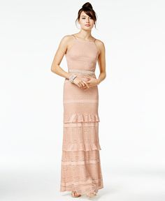69.99$  Buy here - http://vihbt.justgood.pw/vig/item.php?t=n3lo53z9438 - Juniors' Ruffled Crochet-Lace Gown, A Macy's Exclusive Style
