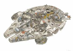 Intricate Illustrations of Star Wars Spacecraft Cutouts Reveal Their Inner Mechanics