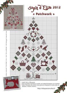 arbol navideño con motivos de costura