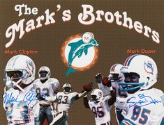 """Mark Clayton and Mark """"super"""" Duper, the MARK'S BROTHERS! Duper had his middle name legally changed in 1986 to Super. And you youngsters all thought ocho cinco was the original. 1972 Miami Dolphins, Athletes, Nfl, Middle, Posters, Football, Dolphins, Legends, Poster"""