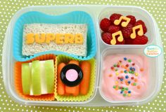 Edible Geekery : Rex Manning Day! from 'Bent on Better Lunches'...For more creative ideas for school lunches visit https://www.facebook.com/SchoolLunchIdeas