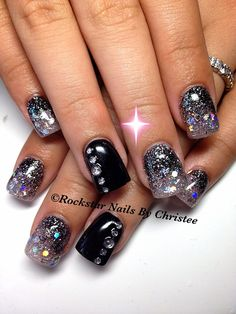#rockstar_nails_by_christee #acrylic #nails #formal #black #silver #bling