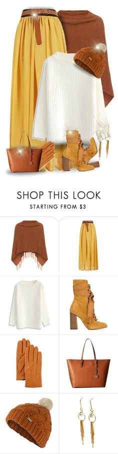 """Maxi Skirt & White Sweater"" by majezy ❤ liked on Polyvore featuring Samoon, Chicwish, Chloé, Neiman Marcus, MICHAEL Michael Kors and Barbour"