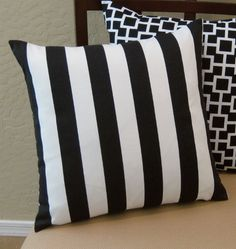 Black and White Striped Throw Pillow Cover. $15.95, via Etsy.