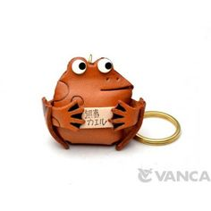 GENUINE 3D LEATHER LUCKY FROG KEYCHAIN MADE BY SKILLFUL CRAFTSMEN OF VANCA CRAFT IN JAPAN. #handmade #keyfob #gift #unique #art #design #cute #animal