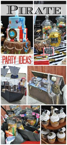 Amazing Pirate Party with fantastic ideas (and a real pirate ship!).  See more party ideas at CatchMyParty.com!