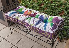 42 White and Purple Flocked Together Bird IndoorOutdoor Tufted Bench Cushion -- Click image to review more details.