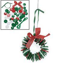 Button Wreath Ornament Craft Kit for Kids Fun Express