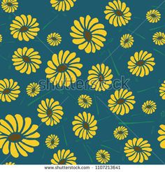 Sun flowers seamless pattern with cute hand drawn style. Seasonal fashion floral vector illustration.