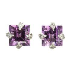 Cathy Waterman Diamond & Amethyst Stud Earrings at Barneys.com
