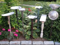 bird feeders from baluster and aluminum dish