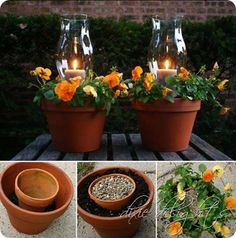 Hurricane lamp in center of pot with flowers